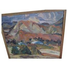 "Large, 31 1/4 X 35 1/2"" Signed, Landscape Oil Painting, Palette Knife Impasto"