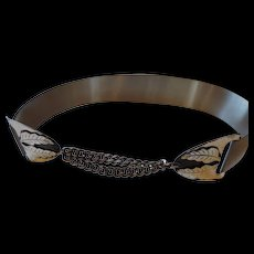 Mid Century Brushed Silver Plated Belt With Oak Leaf Buckle, 28""