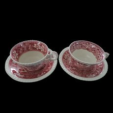 Spode Tower Cups and Saucers, Pink, Set of 4