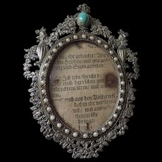 Miniature Picture Frame, Silver Metal, Faux Pearl Encrusted, Turquoise Cabochon At Top