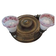 1920's Flush Mount Bronze Classical Revival Ceiling Fixture With 4 Reverse Painted Pressed Shades