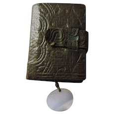 Miniature Leather Bound Koran/Quran, With Magnifying Glass, 1920's