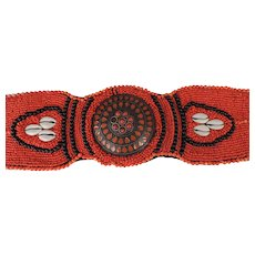 Handmade Vintage North African/Berber Fertility Belt/Sash, Seed Beads, Cowrie Shells, Coral, Cloisonne Brass Mandala