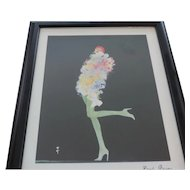 "Signed Rene Gruau Flower Girls, Dior, 9"" X 11"", Z Gallerie"