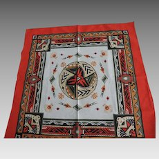 "Red, Native American Motif, Bandana, Wamcraft, 22"" X 22"""