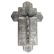 Silver Plated Crucifix w/14 Stations Of The Cross, Calisto Catacombs, Rome