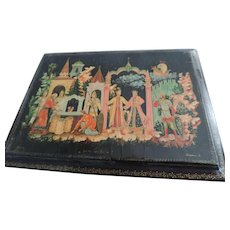 "Russian Hand Painted Black Lacquer Box, Signed, 6"" X 4 3/8"" X 1 3/4"""