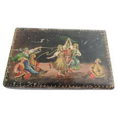 "Russian Black Lacquer Box, Hand Painted Folk Dancing Scene, 4 7/8"" X 3"" X 1 5/8"""