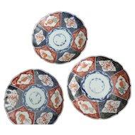 "Imari Meiji Period Scalloped Edge Plates, Set of 3, Fish and Flowers Motif, 8 1/4"" X 1 3/8"""