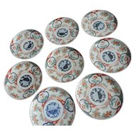 Imari Meiji Period Plates, Stylized Peach and Flower Motif, Set of 8