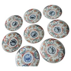Imari Meiji Period Plates, Stylized Peach and Flower Motif, Set of 8