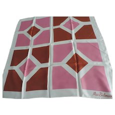 "Miss Balmain Signed White, Brown, and Rose Geometric Designs Scarf, 30"" X 30"""