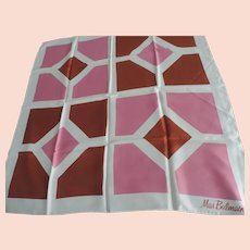 """Miss Balmain Signed White, Brown, and Rose Geometric Designs Scarf, 30"""" X 30"""""""