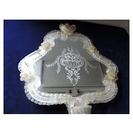 "Venetian Murano Glass Etched Mirror/Candleholder, 17"" X 18"""