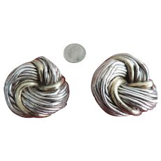 Large Trefoil Knot, Signed,Sterling Silver, Clip Earrings,