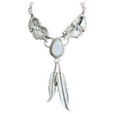 Navajo Style Sterling Silver Feather, Moonstone Necklace