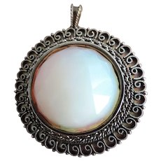 Large, Faceted, Synthetic, Fire Opal Brooch/Pendant, .935 Sterling Silver