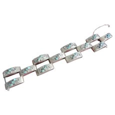 Mexican Silver Heavy Link Bracelet with Filigree and Turquoise