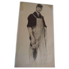 "Jay Hambridge Original Charcoal Illustration, Railroad Crewman, 10 1/4"" X 19 1/4"""