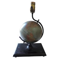 "1940's Cram 7"" Terrestrial Globe Table Lamp"