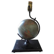 "1940's Cram 7"" Terrestrial Globe Table Lamp"