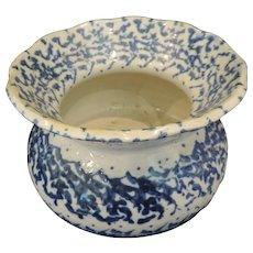 """Vintage Salt Glazed Stoneware Blue Spongeware Cuspidor, 7"""" Wide"""