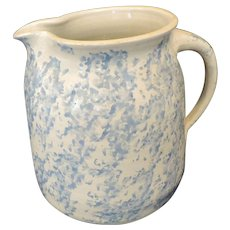 19th Century Salt Glaze Blue Spongeware Wide Mouth Pitcher