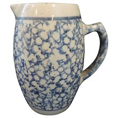 19th Century Salt Glaze Stoneware, Blue Spongeware Pitcher