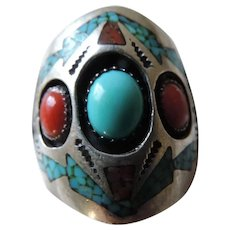 Navajo Turquoise, Coral Ring, Richard Begay, 10 1/2