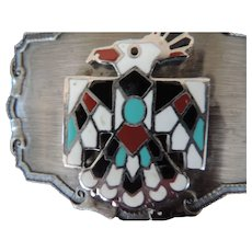 "Thunderbird Enamel Belt Buckle, 2 3/4"" X 3 1/2"", Raintree"