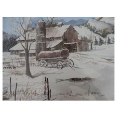"Harold Leff Watercolor, Winter Farm, Barn, Silo and Water Wagon, 12"" X 16"", Framed"