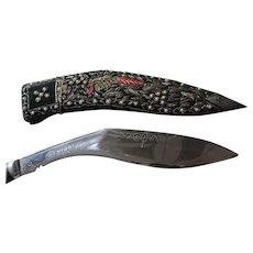 Vintage Gurkha Kukri Knife, Decorative Velvet Covered Scabbard
