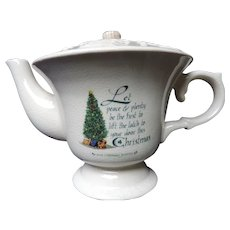 Celtic White Crackle Glaze Teapot with Irish Christmas Blessing