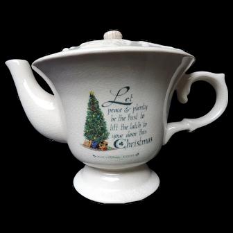 Celtic White Crackle Glaze Teapot with Irish Christmas Blessing