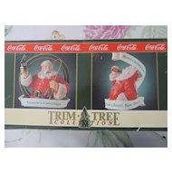 "Coca Cola Christmas Ornaments, Santa With Ribbon, ""Seasons Greetings, Merry Christmas"", 1990"
