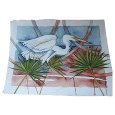 """N. Lee Watercolor, Egret, 9 1/2"""" X 13 1/2"""""""