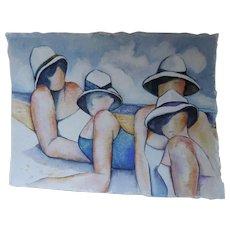 """N. Lee Watercolor, Ladies At The Beach, 11"""" X 15 1/4"""""""