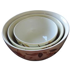 Hall China Autumn Leaf Nesting Bowls, Set of 3