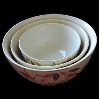Hall China Autumn Leaf Nesting Bowls, Set of 3