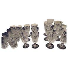 Kuzak Berlin Pattern Cut Glass Stemware, 21 Pieces