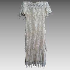 Lillie Rubin Ecru Lace Flapper Dress, Size 6