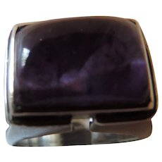 Sterling Silver, Amethyst Cabochon Ring, Size 7, 14.9g