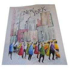 """N Lee Watercolor, New York, 11"""" X 14"""""""
