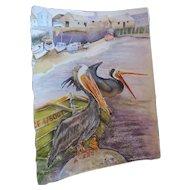"""N Lee Watercolor, Pelican, standing on a rocks, 11"""" X 15 1/2"""""""
