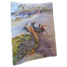 "N Lee Watercolor, Pelican, standing on a rocks, 11"" X 15 1/2"""