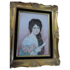 "Vintage Portrait on Tile, 9 1/2"" X 13"", Artist Signed, Betty Rainville, Contemporary Carved, Gold Frame"