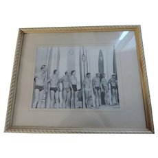 "1950's Surf Club Long Boards Photograph, 10 1/2"" X 14"", Framed"