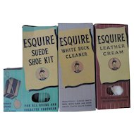 Vintage Esquire Shoe Polish, New/Old Stock, Set of 3