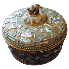 Chinese Antique Open Enamel Round Opium/Snuff Box