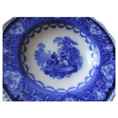 "Doulton Flow Blue Watteau 9 1/4"" Soup Bowl"
